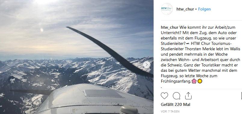 Tourismus-Professor pendelt mit Flugzeug zur Arbeit