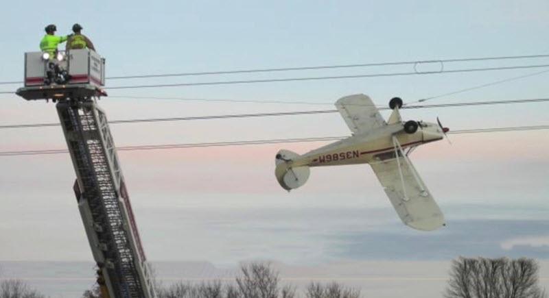 'Landung' in Hochspannungsleitung