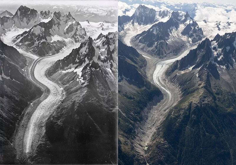 100jährige Luftbilder zeigen Montblanc-Eisverlust