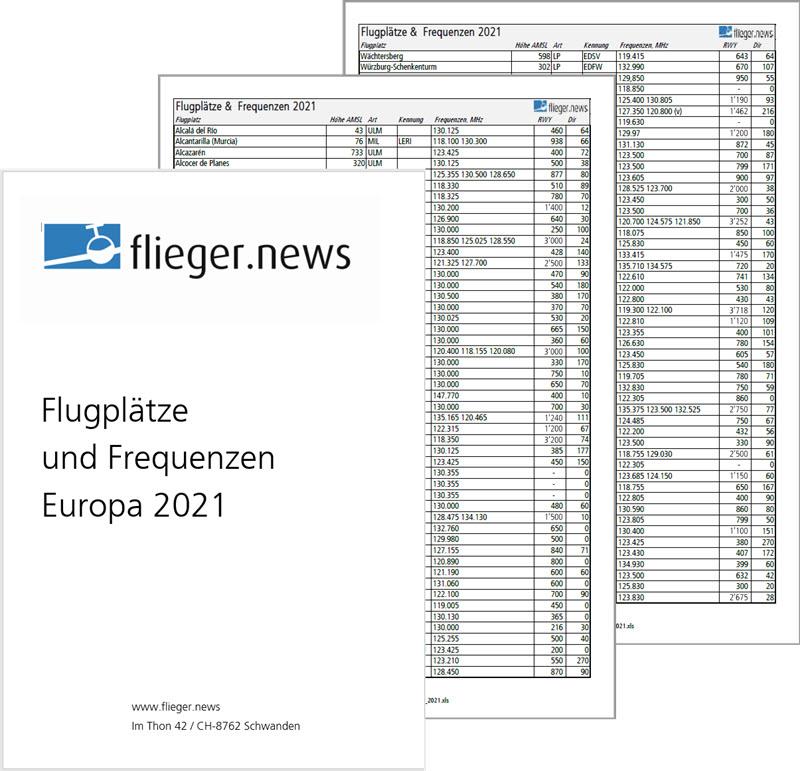 Frequenzen von Europas Flugplätzen