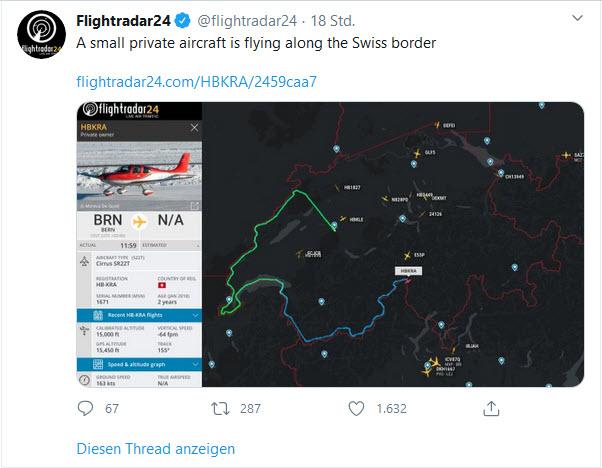 Kleinflugzeug zeichnet Schweizer Grenze nach