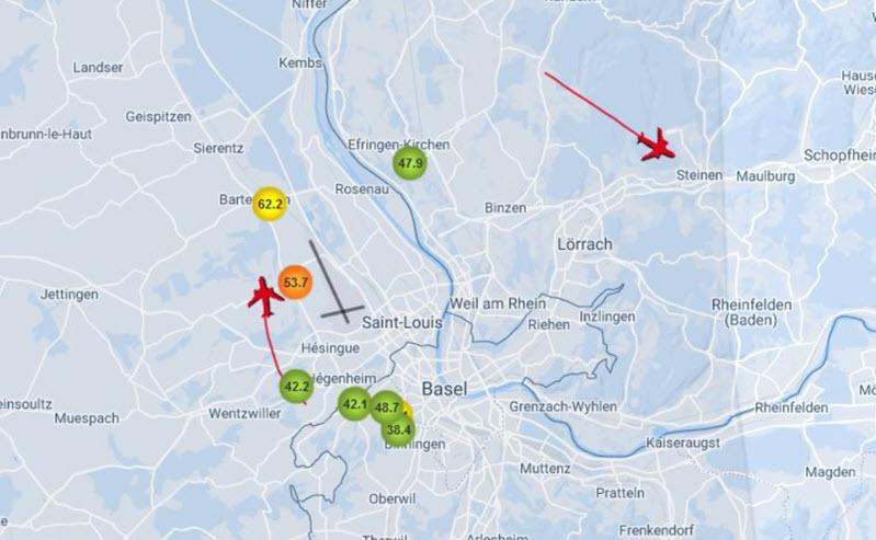 Basel: Fluglärm auf interaktiver Karte