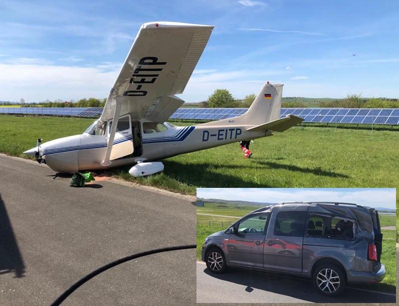 Landendes Flugzeug touchiert Auto