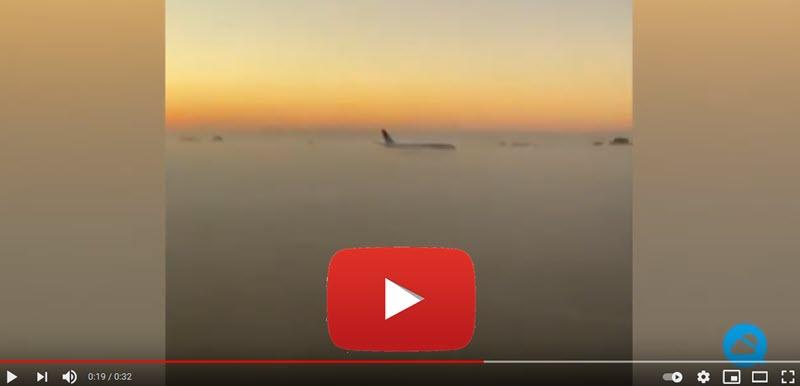 Spektakuläre Landung in der Nebelbank